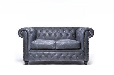 Chesterfield Sofa Vintage Leder   2-Sitzer   Schwarz   12 Jahre Garantie