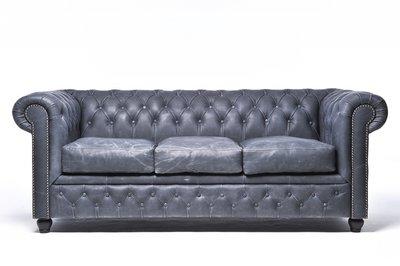 Chesterfield Sofa Vintage Leder   3-Sitzer   Schwarz   12 Jahre Garantie