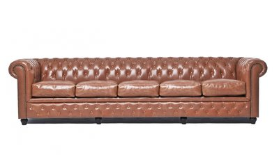 Chesterfield Sofa Vintage Leder   5-Sitzer  Mokka   12 Jahre Garantie