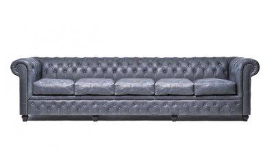 Chesterfield Sofa Vintage Leder | 5-Sitzer| Schwarz | 12 Jahre Garantie