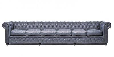 Chesterfield Sofa Vintage Leder | 6- Sitzer | Schwarz | 12 Jahre Garantie