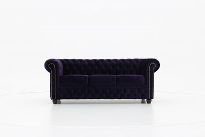 Chesterfield Sofa Original Samt  3-Sitzer     Violett   12 Jahre Garantie