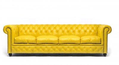 Chesterfield Sofa Original Leder   4-Sitzer   Gelb   12 Jahre Garantie