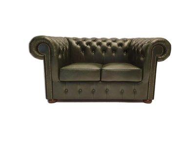 Chesterfield Sofa Class Leder |2-Sitzer | Cloudy Grün | 5 Jahre Garantie
