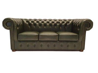 Chesterfield Sofa Class Leder  3-Sitzer   Cloudy Grün   12 Jahre Garantie