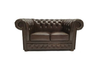 Chesterfield Sofa First Class Leder |2-Sitzer | Cloudy Braun Dark | 12 Jahre Garantie