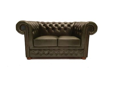 Chesterfield Sofa First Class Leder |2-Sitzer | Cloudy Grün | 12 Jahre Garantie