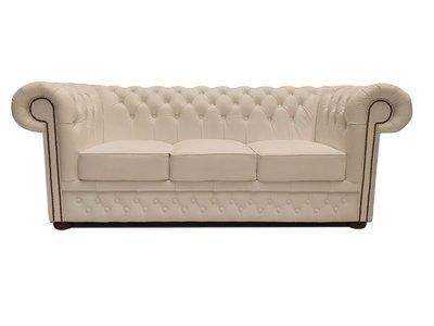 Chesterfield Sofa First Class Leder  3-Sitzer   Cloudy Weiß   12 Jahre Garantie