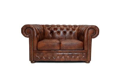 Chesterfield Sofa First Class Leder  2-Sitzer   Cloudy Braun Old   12 Jahre Garantie