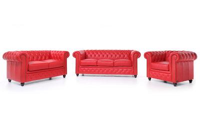 Chesterfield Sofa Original Leder |  1 + 2 + 3 Sitzer | Rot |12 Jahre Garantie