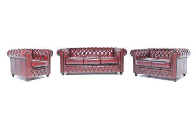 Chesterfield Sofa Original Leder |  1 + 2 + 3 Sitzer | Antik Rot |12 Jahre Garantie