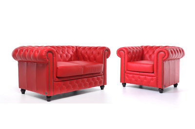 Chesterfield Sofa Original Leder    1 + 2  Sitzer   Rot  12 Jahre Garantie