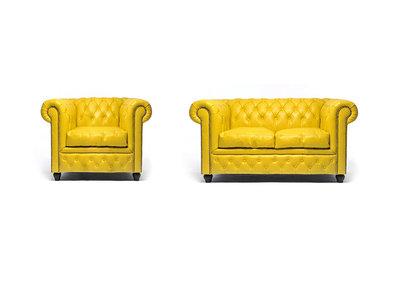 Chesterfield Sofa Original Leder |  1 + 2  Sitzer | Gelb |12 Jahre Garantie