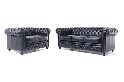 Chesterfield Sofa Original Leder |  2 + 3  Sitzer | Schwarz |12 Jahre Garantie