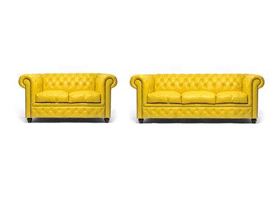 Chesterfield Sofa Original Leder |  2 + 3  Sitzer | Gelb |12 Jahre Garantie