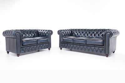 Chesterfield Sofa Original Leder |  2 + 3  Sitzer | Antik Blau |12 Jahre Garantie