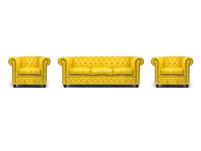 Chesterfield Sofa Original Leder |  1+ 1 + 3  Sitzer | Gelb |12 Jahre Garantie