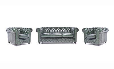 Chesterfield Sofa Original Leder |  1+ 1 + 3  Sitzer | Antik Grün |12 Jahre Garantie