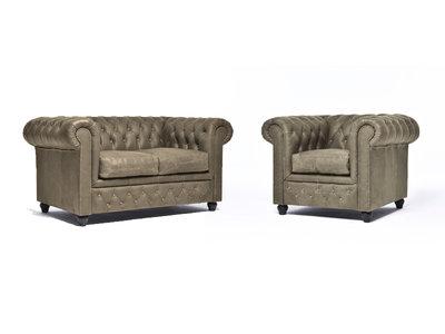 Chesterfield Sofa Vintage Leder Alabama C1057 | 1 + 2 Sitzer | 12 Jahre Garantie