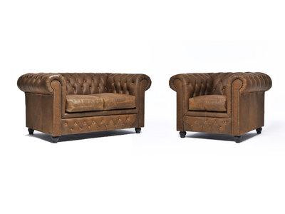 Chesterfield Sofa Vintage Leder Alabama C1059 | 1 + 2 Sitzer | 12 Jahre Garantie