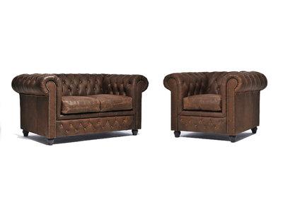 Chesterfield Sofa Vintage Leder C0869 | 1 + 2 Sitzer | 12 Jahre Garantie